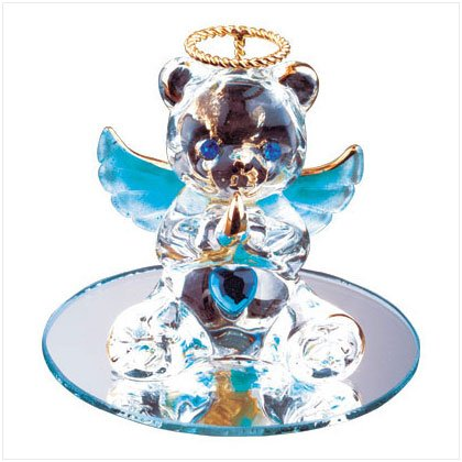 Dec Glass Angel Bear with Heart 35078