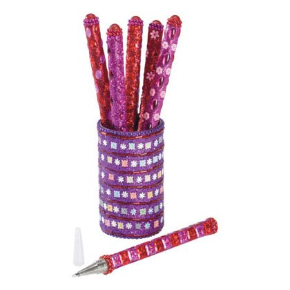 Pink/Red Pens in Holder - 6 Pc 35543