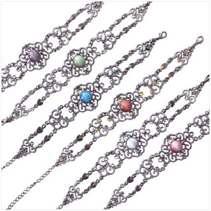 Pewter Assorted Stone Bracelet - Pk 6 33867