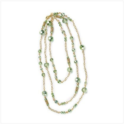 Gold and Green Beads Necklace