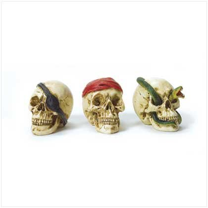 Set of 3 Mini Skeleton Busts(Pirate)