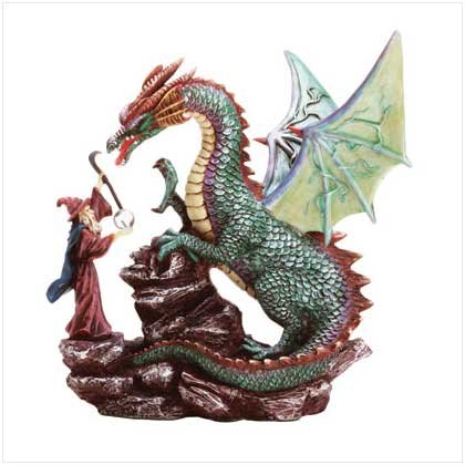 DRAGON & MERLIN W/CRYSTAL BALL