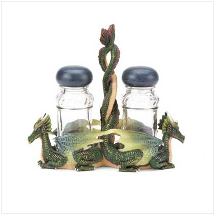 Green Dragons Salt & Pepper Shakers with Glass Holder