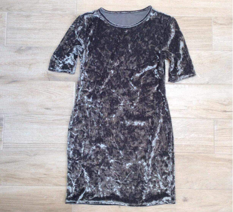 Sexy CRUSHED VELVET DRESS Grey S