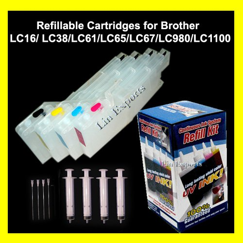 XL Refillable Carts UV Ink Package for Brother LC11 LC16 LC38 LC61 LC65 LC67 LC980 LC1100 FREE S&H!