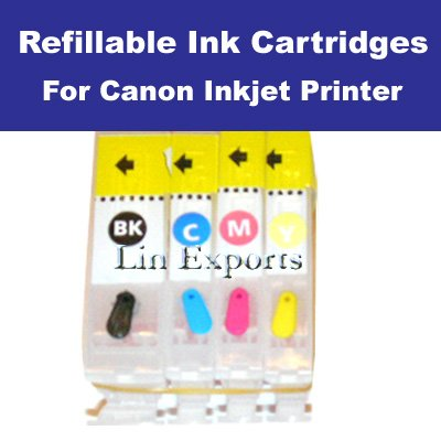 Refillable Cartridges for Canon iP3000 i6100 S4500 i560 BCI-3eBK, BCI-3/6 C/M/Y FREE S&H!!!