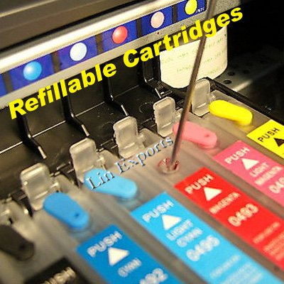 Refillable Cartridges for Epson Stylus Photo R270 R290 R390 RX590 RX610 RX690 1410 82N FREE S/H!!!