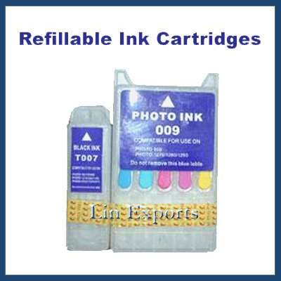 Refillable Cartridges for Epson Stylus Photo 900 1270 1280 1290 (T007 T009) FREE S&H!