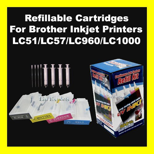 UV INK Refillable Cartridges for Brother LC10 LC37 LC51 LC57 LC960 LC970 LC1000 FREE S&H!!!