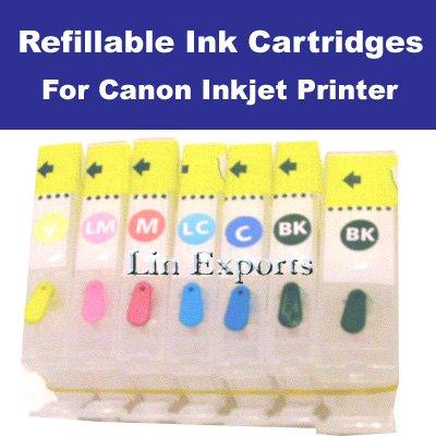 Refillable Cartridge for Canon Pixma MP970 PGI-5BK CLI-8 BK/C/M/Y/PC/PM ARC chips FREE S/H!!!
