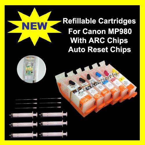 Pigment/UV Ink Refillable Cartridges for Canon Pixma MP980 MP990 ARC PGI-520 CLI-521  FREE S&H!!!