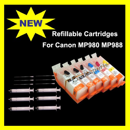 Refillable Cartridges for Canon MP980 MP988 MP990 MP998 CLI-521 CLI-221 FREE SHIPPING WORLDWIDE!!!
