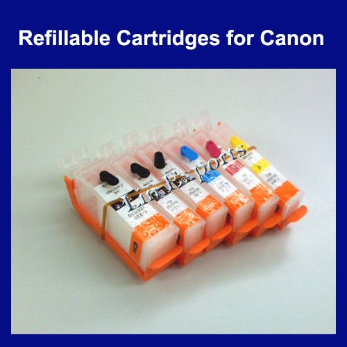 Refillable Cartridges for Canon PGI-525 K, CLI-526 K C M Y GY - Free S/H Worldwide!!!