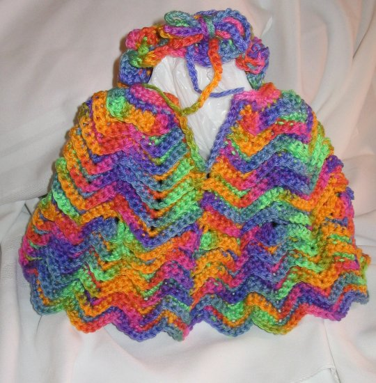BABY PONCHO WITH MATCHING HEADBAND HANDMADE CROCHET CROCHETED