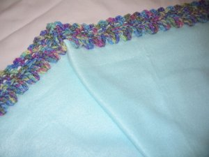 BABY FLEECE BLANKET WITH CROCHETED TRIM IN LIGHT TEAL