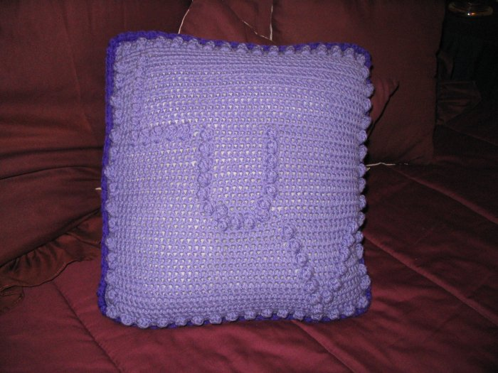 "PURPLE ""LUV"" PILLOW POLYFIL HANDMADE CROCHET CROCHETED"