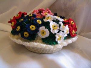 FLOWER FLORAL ARRANGEMENT HANDMADE COTTON THREAD CROCHET CROCHETED
