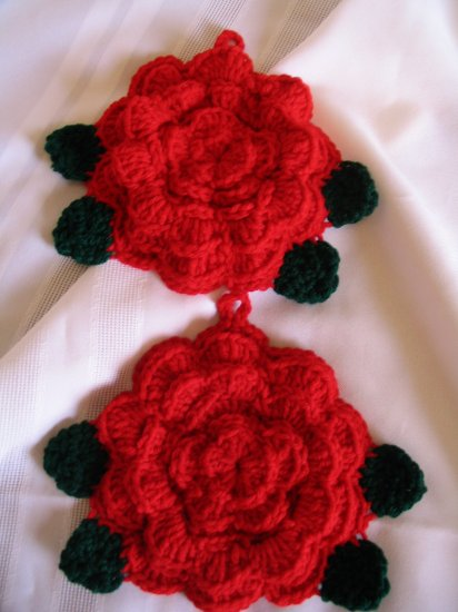 ROSE POTHOLDERS HANDMADE CROCHET CROCHETED