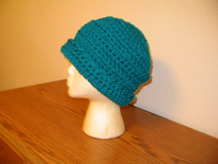 WINTER HAT IN TEAL DOUBLE YARN HANDMADE CROCHET CROCHETED
