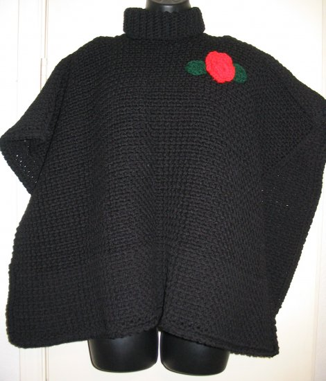 BLACK PONCHO WITH ACCENT ROSE HANDMADE CROCHET CROCHETED