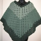 SAGE PONCHO 3 SHADES DOUBLE YARN HANDMADE CROCHET CROCHETED