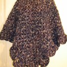 TRUE NAVY SCALLOPED EDGE PONCHO HANDMADE CROCHET CROCHETED