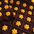 GOLD FLOWERS AFGHAN DOUBLE YARN HANDMADE CROCHET CROCHETED