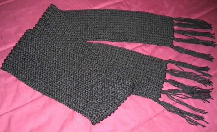 BLACK WINTER SCARF HANDMADE CROCHET CROCHETED