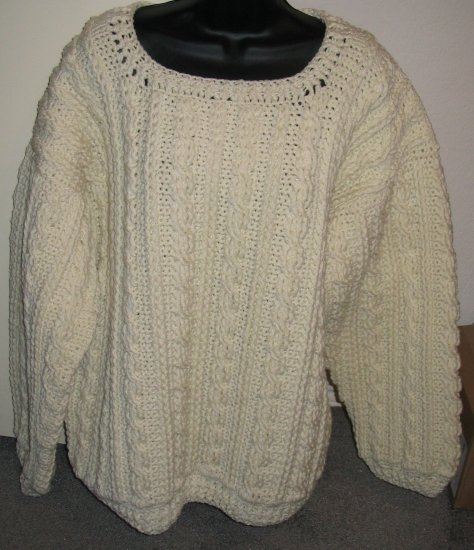 SHETLAND BRAID PULLOVER SWEATER HANDMADE CROCHET CROCHETED