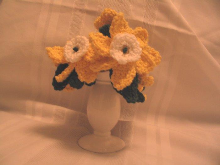 LILY SPRING FLOWERS FLORAL ARRANGEMENT HANDMADE CROCHET CROCHETED