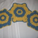 3 PIECE SET POT HOLDERS AND HOT PAD HANDMADE CROCHET CROCHETED