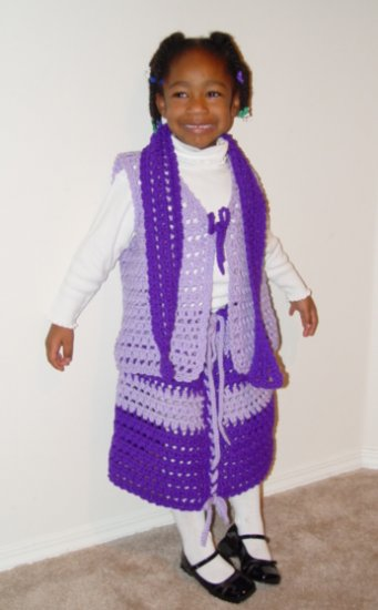 SKIRT & VEST SUIT IN LAVENDER HANDMADE CROCHET CROCHETED