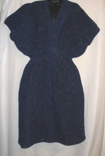SLIPOVER V-NECK DRESS HANDMADE CROCHET CROCHETED NAVY FLECK
