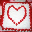VALENTINE'S AFGHAN AND MATCHING HEART PILLOW HANDMADE CROCHET CROCHETED