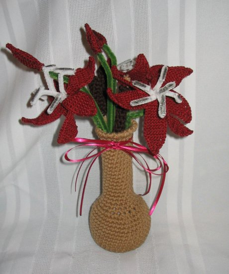 FLORAL FLOWER ARRANGEMENT HANDMADE CROCHET CROCHETED