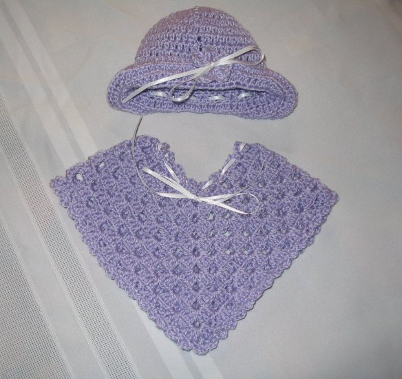 PREEMIE NEWBORN SET PONCHO AND HAT HANDMADE CROCHET CROCHETED