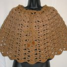 WARM BROWN PONCHO HANDMADE CROCHET CROCHETED
