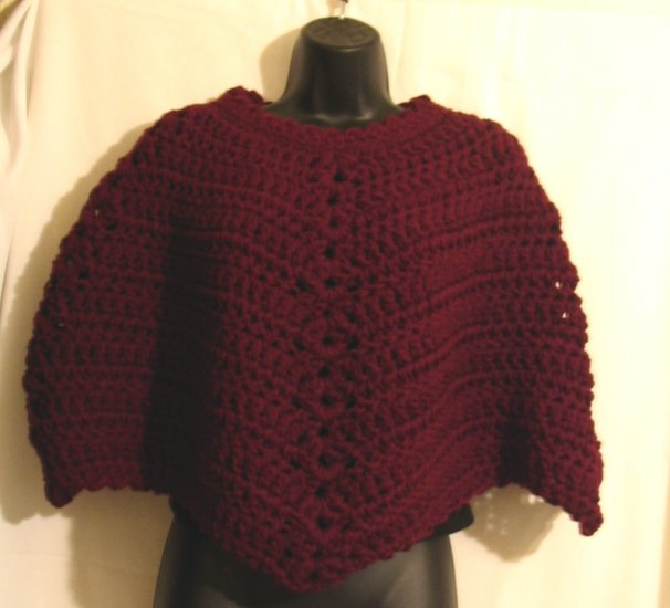 CLARET PONCHO HANDMADE CROCHETED WITH DOUBLE YARN