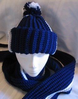 DALLAS COWBOY'S HAT & SCARF SET HANDMADE CROCHET CROCHETED