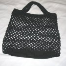 BLACK MESH STYLE TOTE BAG 100% COTTON HANDMADE CROCHET CROCHETED