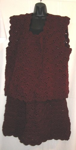 SKIRT & VEST SET HANDMADE CROCHET CROCHETED IN CLARET