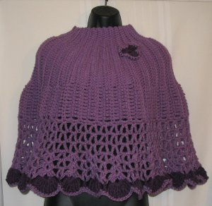 FASHIONABLE PONCHO HANDMADE CROCHET CROCHETED IN PLUM