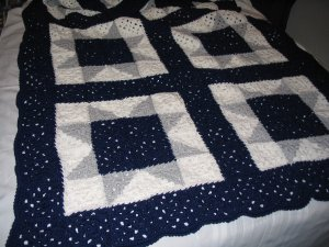 PATCHWORK QUILT AFGHAN HANDMADE CROCHET DALLAS COWBOY'S