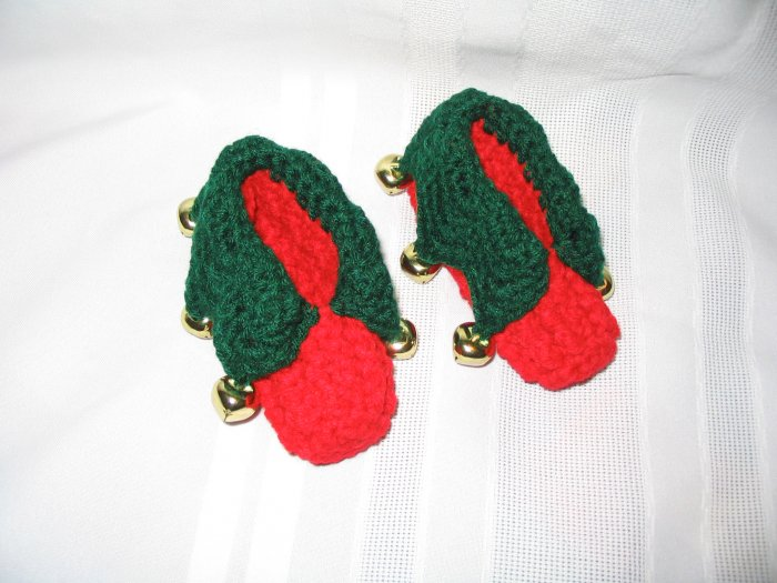 HANDMADE CROCHET CROCHETED ELF SLIPPERS FOR CHRISTMAS