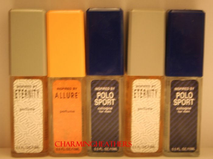 NEW LOT OF 5 BOTTLES OF ASSORTED DESIGNER INSPIRED WOMANS PERF& MENS COLOGNE 0.5 FL. OZ. EA. NEW