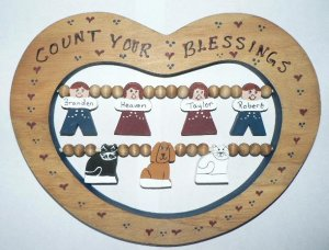 Count Your Blessings Family Heart Sign - Medium