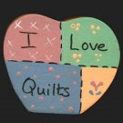 I Love Quilts Heart - Wooden Miniature