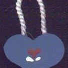 Hanging Heart Dark Blue / Red - Wooden Miniature
