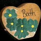Bath Heart - Green - Wooden Miniature