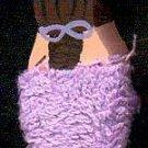 Bath Girl - Brown Hair with Purple Towel- Wooden Miniature